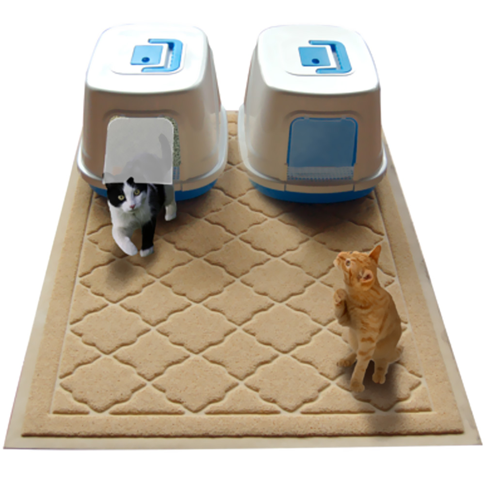 """Easyology Kitty Litter Cat Jumbo Mat (Beige) - 47"""" x 36"""""" im test"