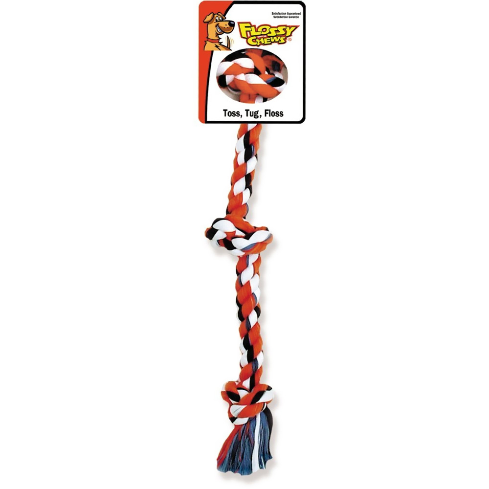"""Flossy Chews Cottonblend Color 3-Knot Rope Tug - Small 15"""""" im test"