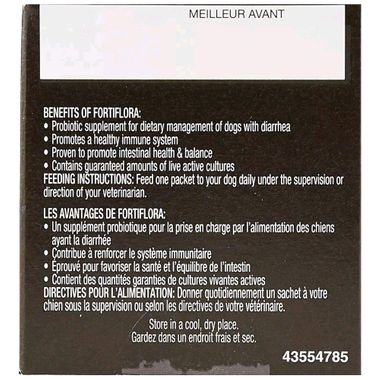 Side of box showing benefits and feeding instructions in English and French