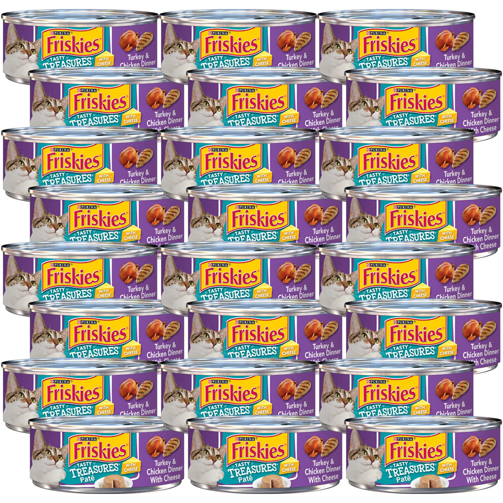 Image of Friskies Tasty Treasures Pate - Turkey & Chicken Dinner with Cheese Canned Cat Food - 24x5.5 oz - from EntirelyPets