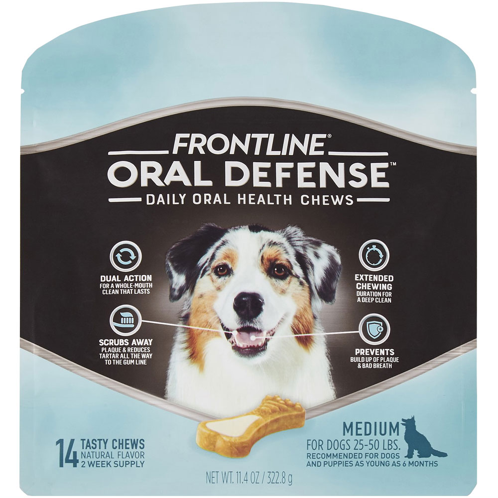 Frontline Oral Defense Daily Oral Health Chews for Medium Dogs - 25-50 lbs (14 count) im test