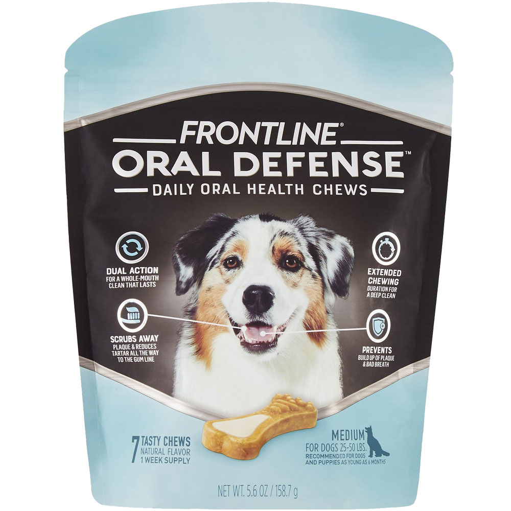 Frontline Oral Defense Daily Oral Health Chews for Medium Dogs - 25-50 lbs (7 count) im test