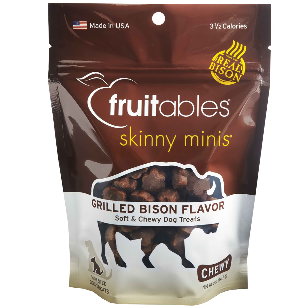 Fruitables Skinny Minis Soft Chewy Dog Treats Grilled Bison 5 Oz