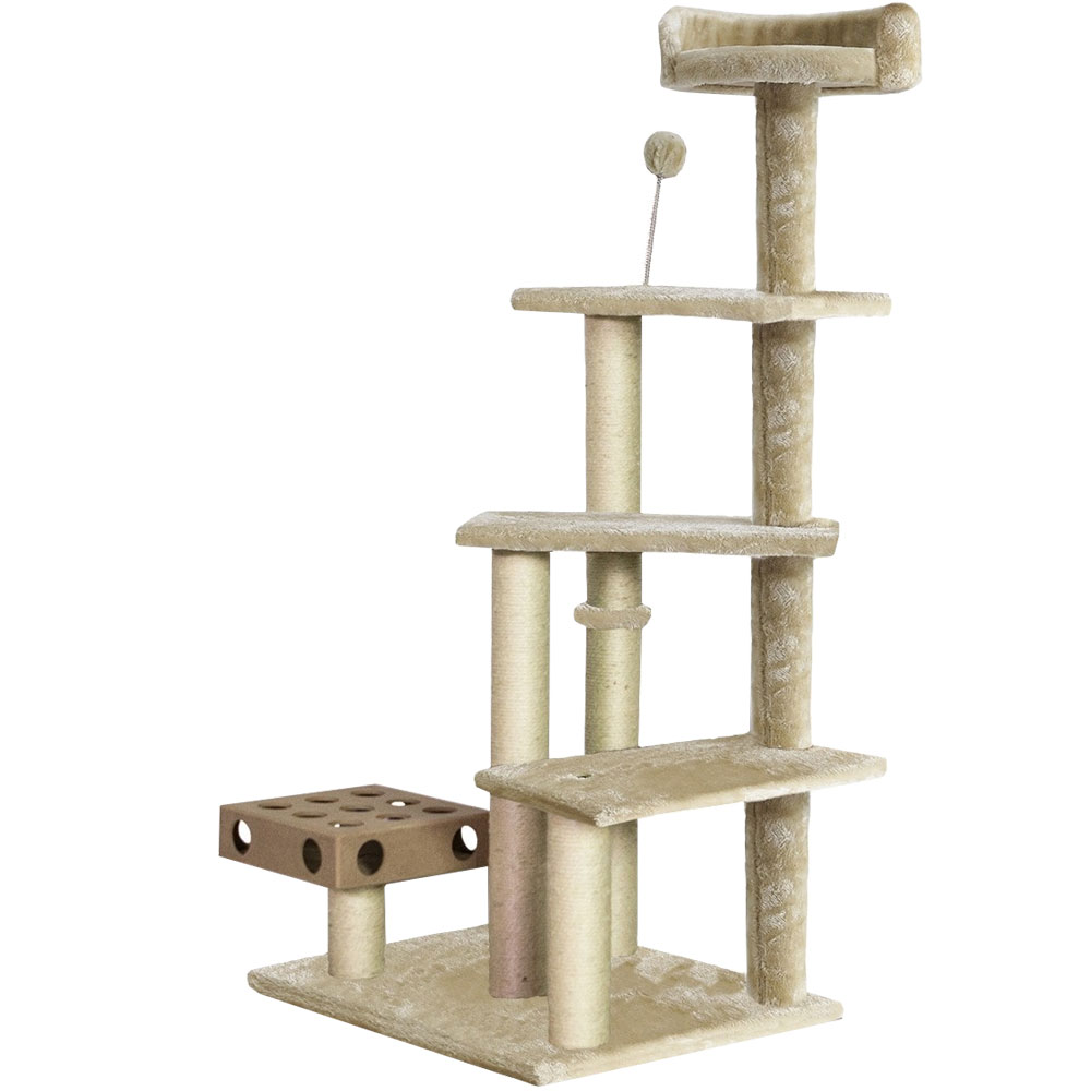 Image of FurHaven Cat Furniture Play Stairs with Cat-IQ Busy Box - Cream
