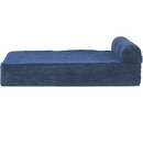 FurHaven Cooling Gel Top Chaise Lounge Sofa-Style Pet Bed - Navy Blue (Large)