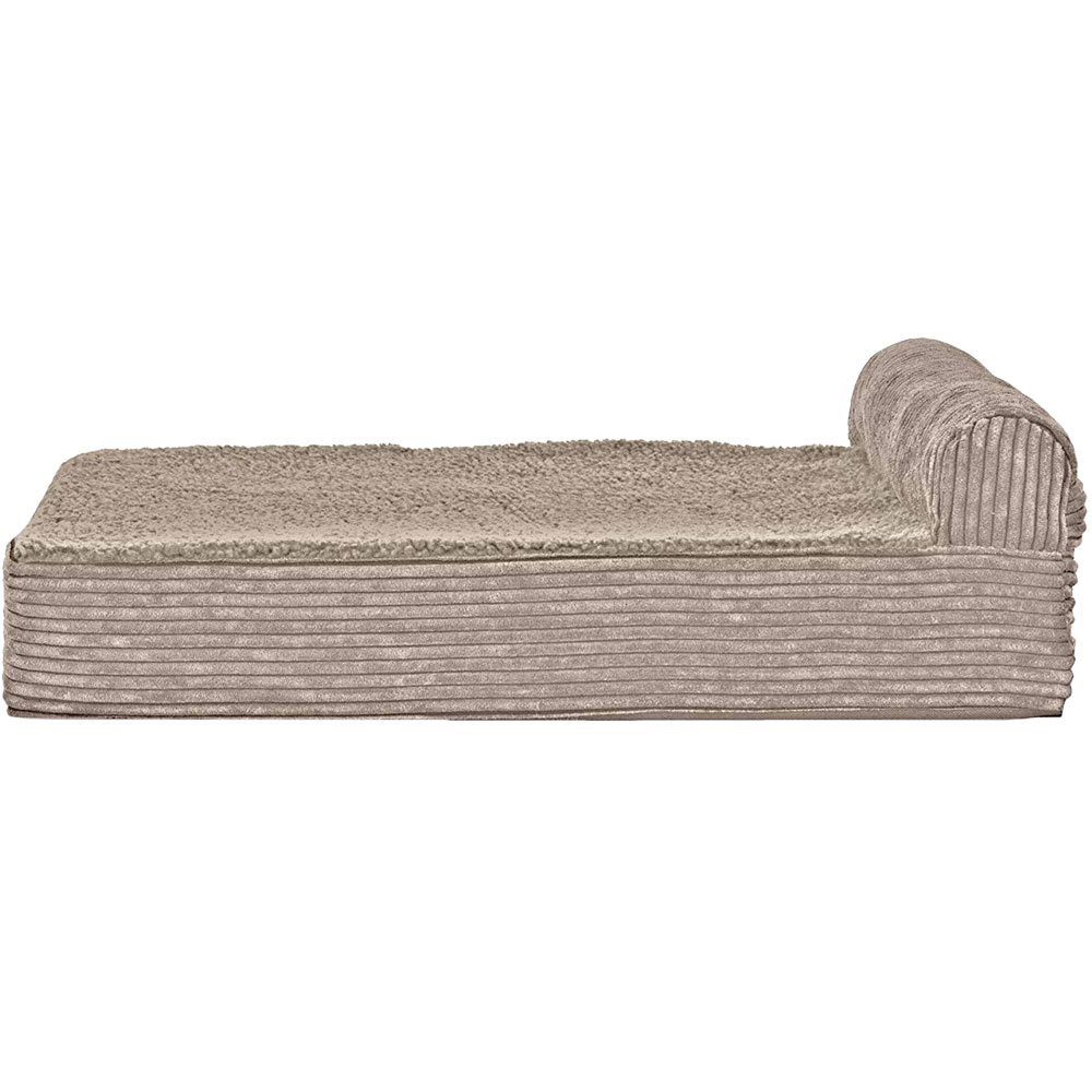 FurHaven Cooling Gel Top Chaise Lounge Sofa-Style Pet Bed - Sandstone  (Large)