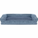 FurHaven Faux Fur & Velvet Pillow Sofa Pet Bed - Harbor Blue (Large)