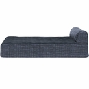 FurHaven Memory Top Chaise Lounge Quilted Fleece & Print Suede - Dark Blue (Small)