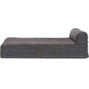 FurHaven Memory Top Chaise Lounge Quilted Fleece & Print Suede - Espresso (Small)