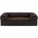 FurHaven Memory Top Sofa Pet Bed Faux Fleece & Chenille - Coffee (Large)