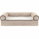 FurHaven Memory Top Sofa Pet Bed Faux Fleece & Chenille - Cream (Small)