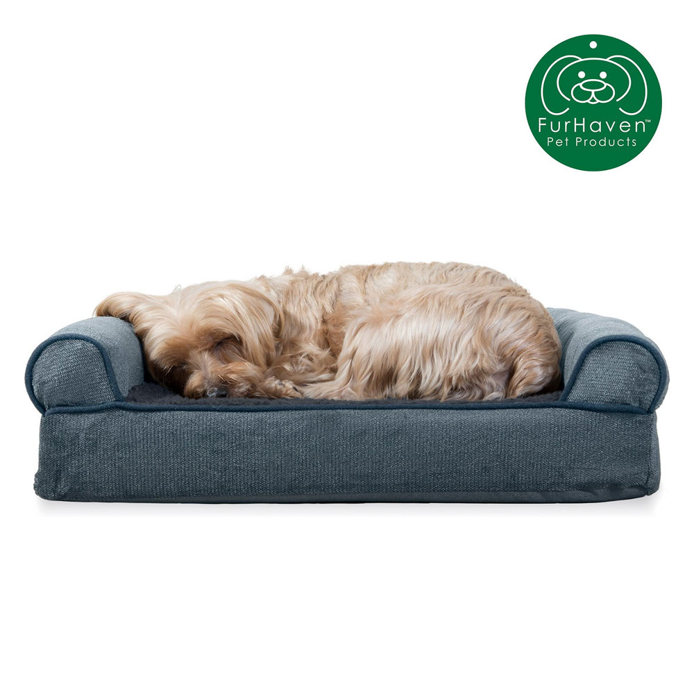 FURHAVEN-MEMORY-TOP-BED-CHENILLE-ORION-BLUE-JUMBO