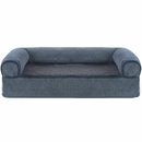 FurHaven Memory Top Sofa Pet Bed Faux Fleece & Chenille - Orion Blue (Medium)