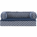 FurHaven Plush & Decor Comfy Couch Orthopedic Sofa-Style Pet Bed - Diamond Blue (Large)