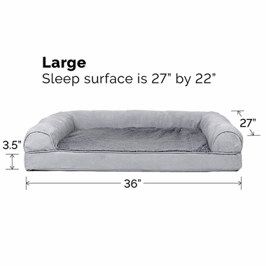 FURHAVEN-PLUSH-SUEDE-ORTHOPEDIC-BED-GRAY-LARGE
