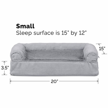 FURHAVEN-PLUSH-SUEDE-ORTHOPEDIC-BED-GRAY-SMALL