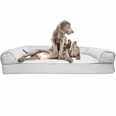 Furhaven Quilted Orthopedic Sofa Pet Bed Silver Gray Jumbo