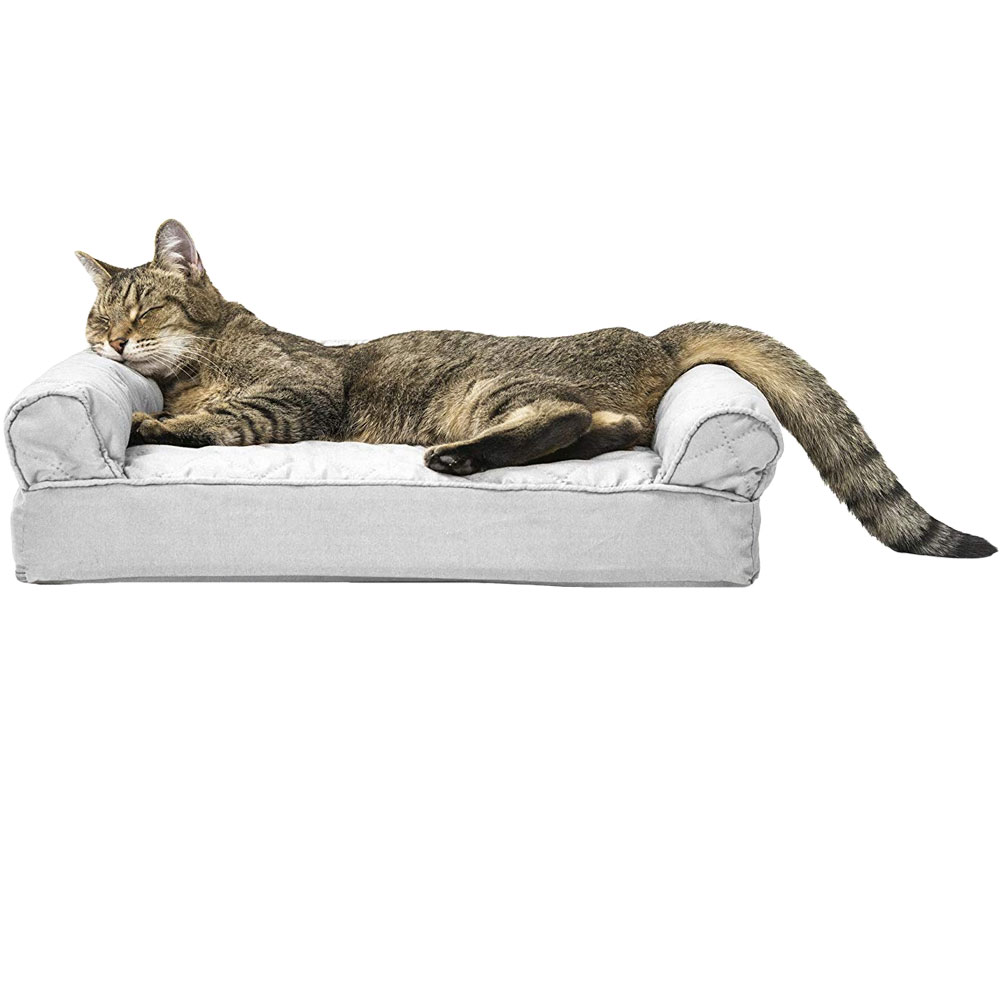 Furhaven Quilted Orthopedic Sofa Pet Bed Silver Gray Small