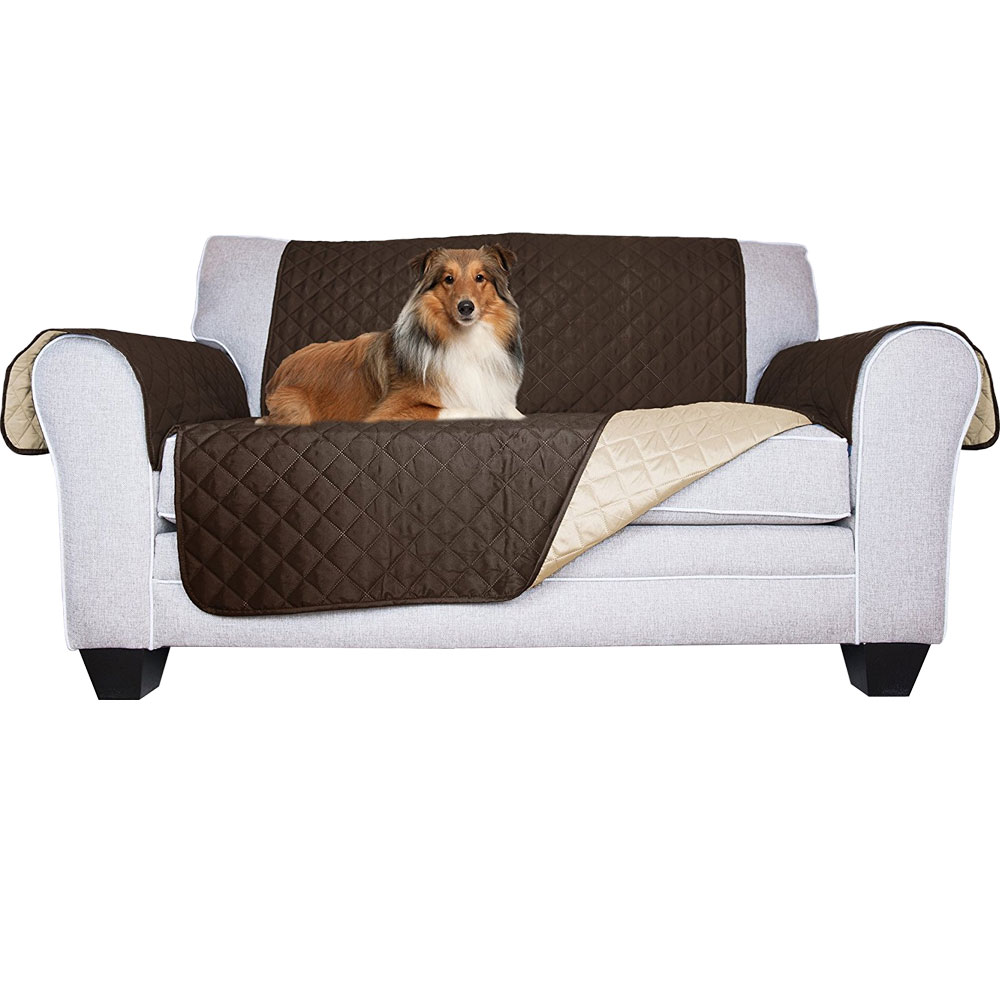 Image of FurHaven Reversible Loveseat Protector - Espresso/Clay