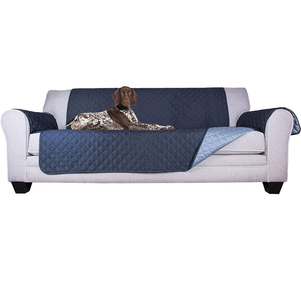 Furhaven Reversible Sofa Protector Navy Light Blue