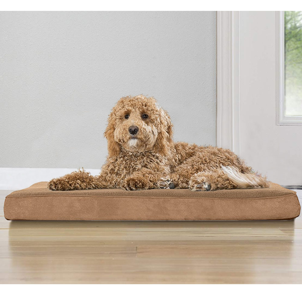 FURHAVEN-TERRY-SUEDE-ORTHOPEDIC-BED-CAMEL-LARGE