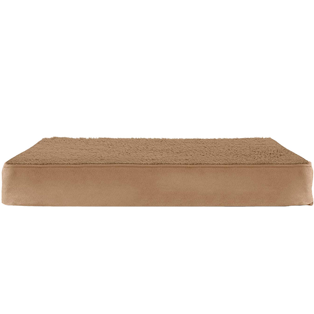FURHAVEN-TERRY-SUEDE-ORTHOPEDIC-BED-CAMEL-MEDIUM