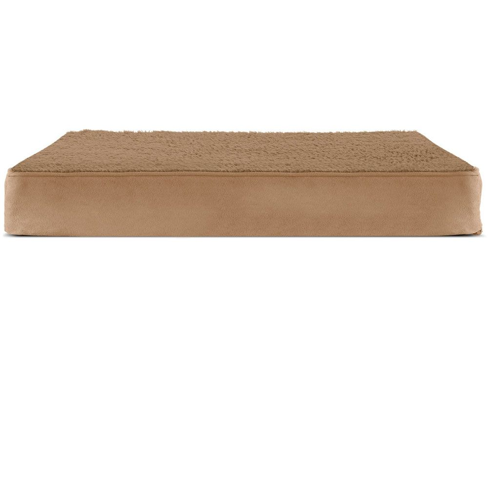 FURHAVEN-TERRY-SUEDE-ORTHOPEDIC-BED-CAMEL-SMALL