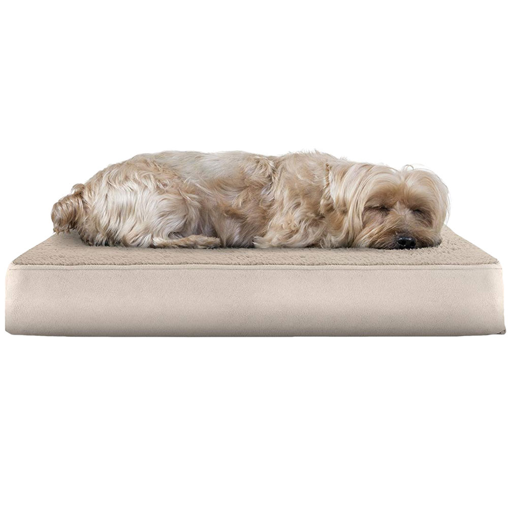 FURHAVEN-TERRY-SUEDE-ORTHOPEDIC-BED-CLAY-SMALL