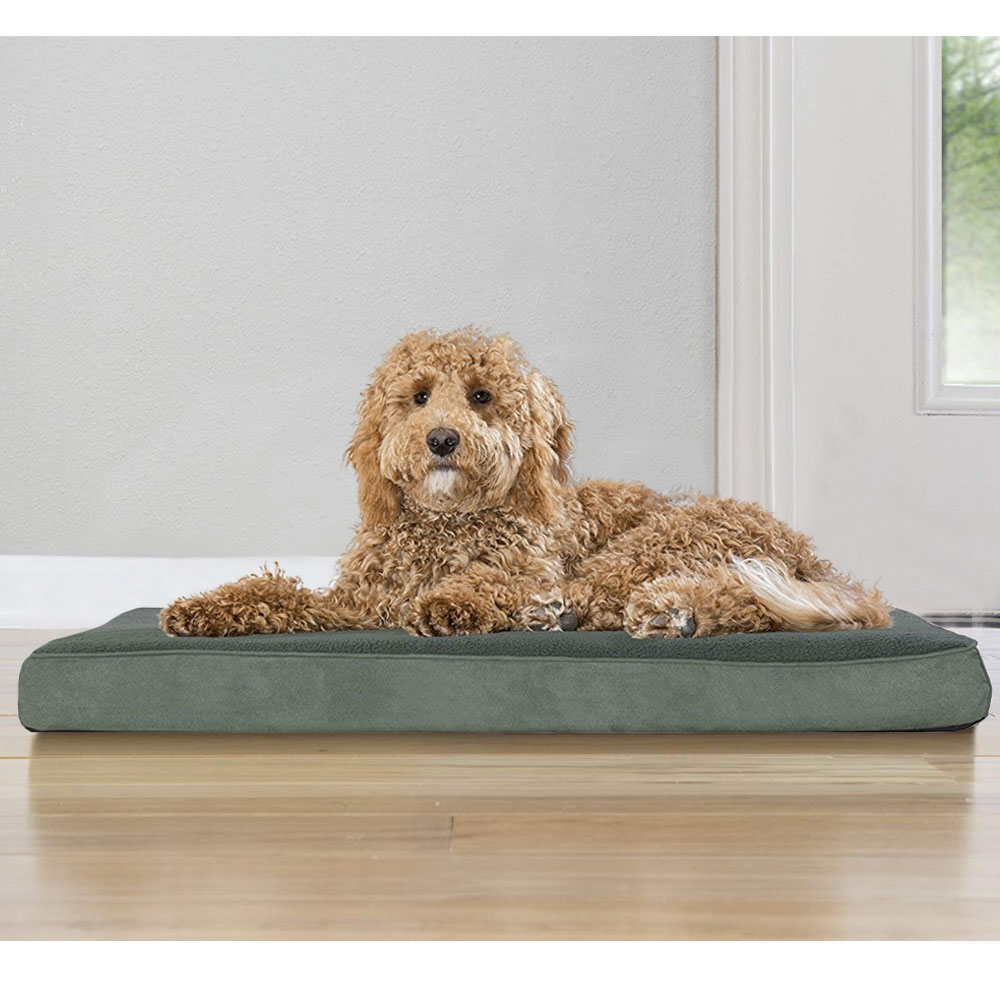 FURHAVEN-TERRY-SUEDE-ORTHOPEDIC-BED-FOREST-LARGE