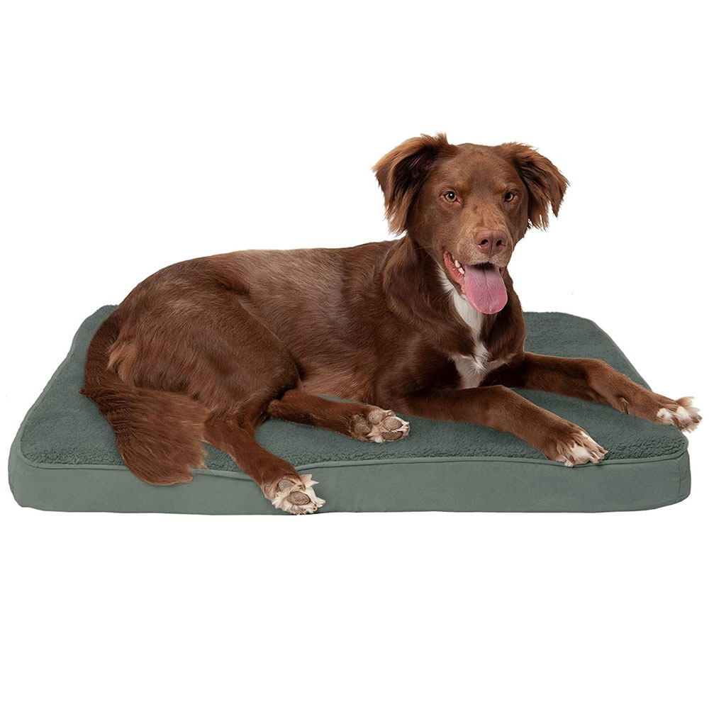 FURHAVEN-TERRY-SUEDE-ORTHOPEDIC-BED-FOREST-MEDIUM