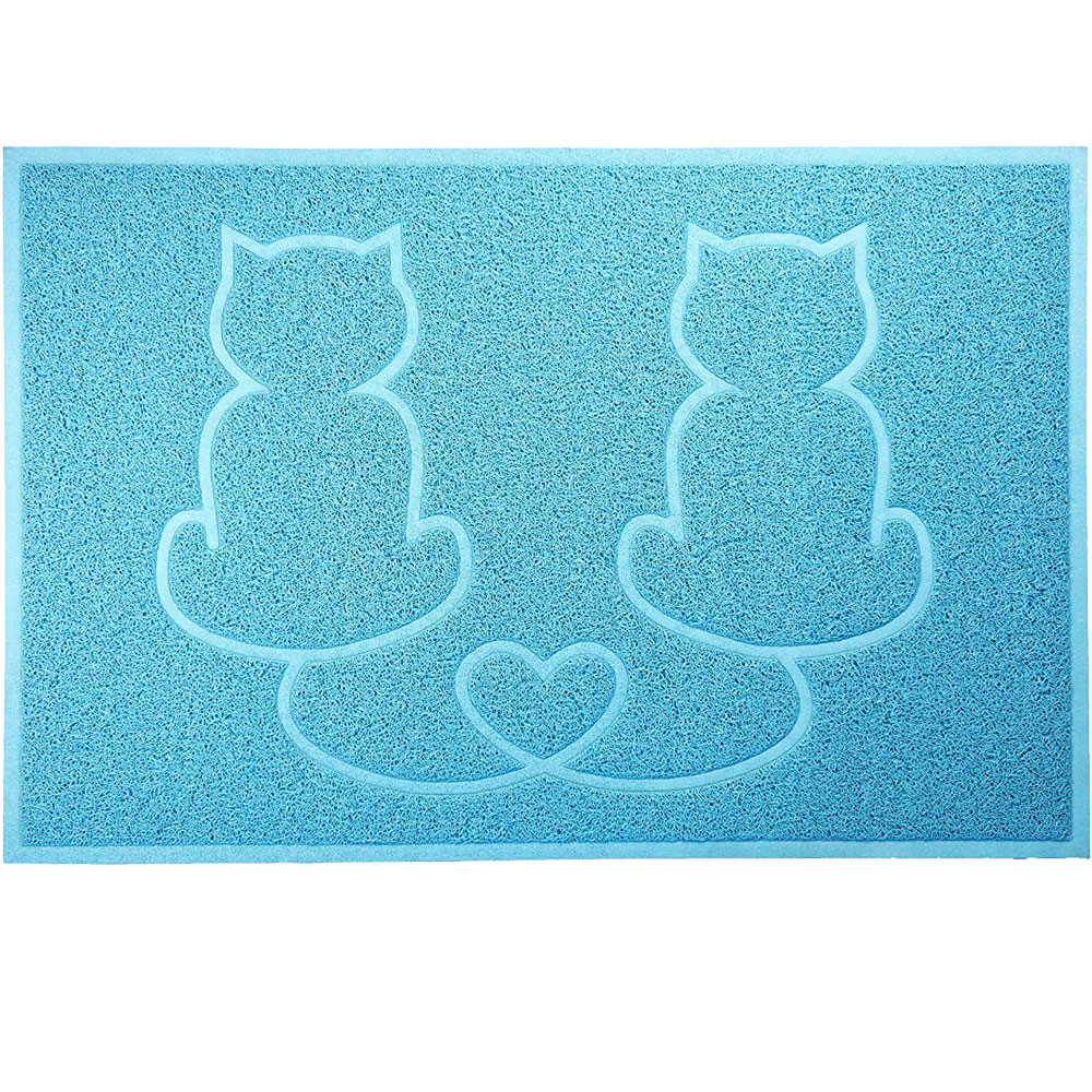FurHaven Tiger Tough Lovecats Tidy Paws Litter & Food Mat - Robin's Egg from EntirelyPets