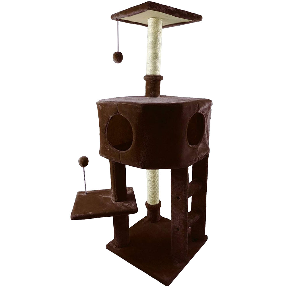Image of FurHaven Tiger Tough Treehouse Playground - Brown