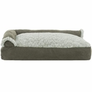 FurHaven Two-Tone Faux Fur & Suede Deluxe Chaise Lounge Pillow Sofa-Style Pet Bed - Dark Sage (Large)