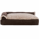 FurHaven Two-Tone Faux Fur & Suede Deluxe Chaise Lounge Pillow Sofa-Style Pet Bed - Espresso (Large)