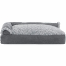 FurHaven Two-Tone Faux Fur & Suede Deluxe Chaise Lounge Pillow Sofa-Style Pet Bed - Stone Gray (Medium)