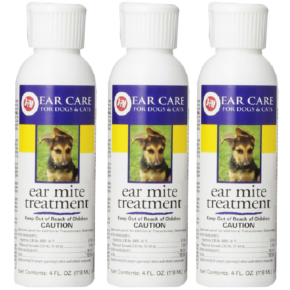 Miracle Care R-7M Ear Mite Treatment for Dogs 3-PACK (12 oz)