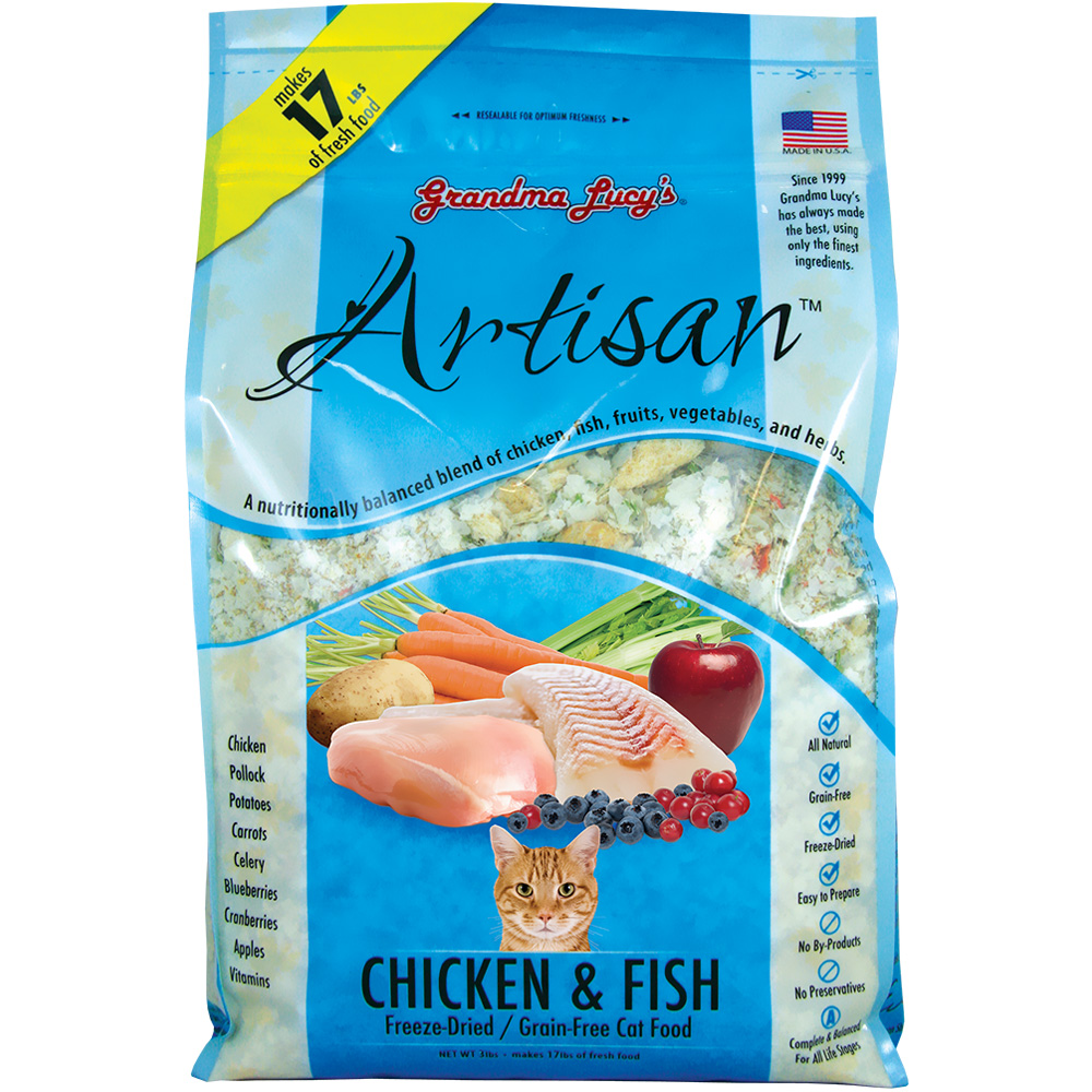 Grandma Lucy's Freeze-Dried Grain-Free Artisan Chicken & Fish Cat Food (3 lbs) im test