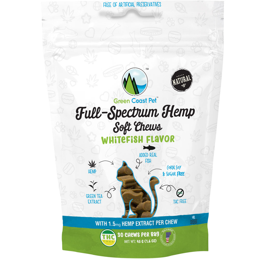 Green Coast Pet Full-Spectrum Hemp for Cats - Whitefish (30 Chews) im test