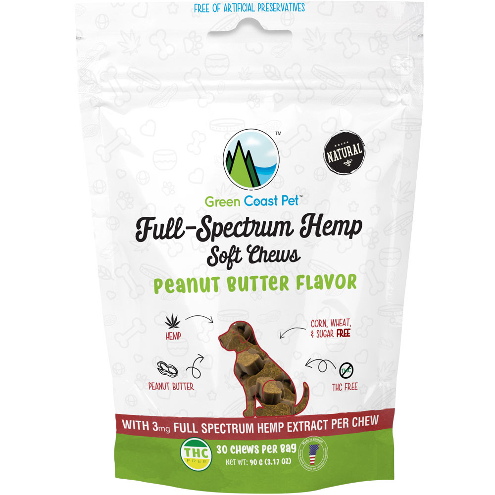 Green Coast Pet Full-Spectrum Hemp for Dogs - Peanut Butter (30 Chews) im test