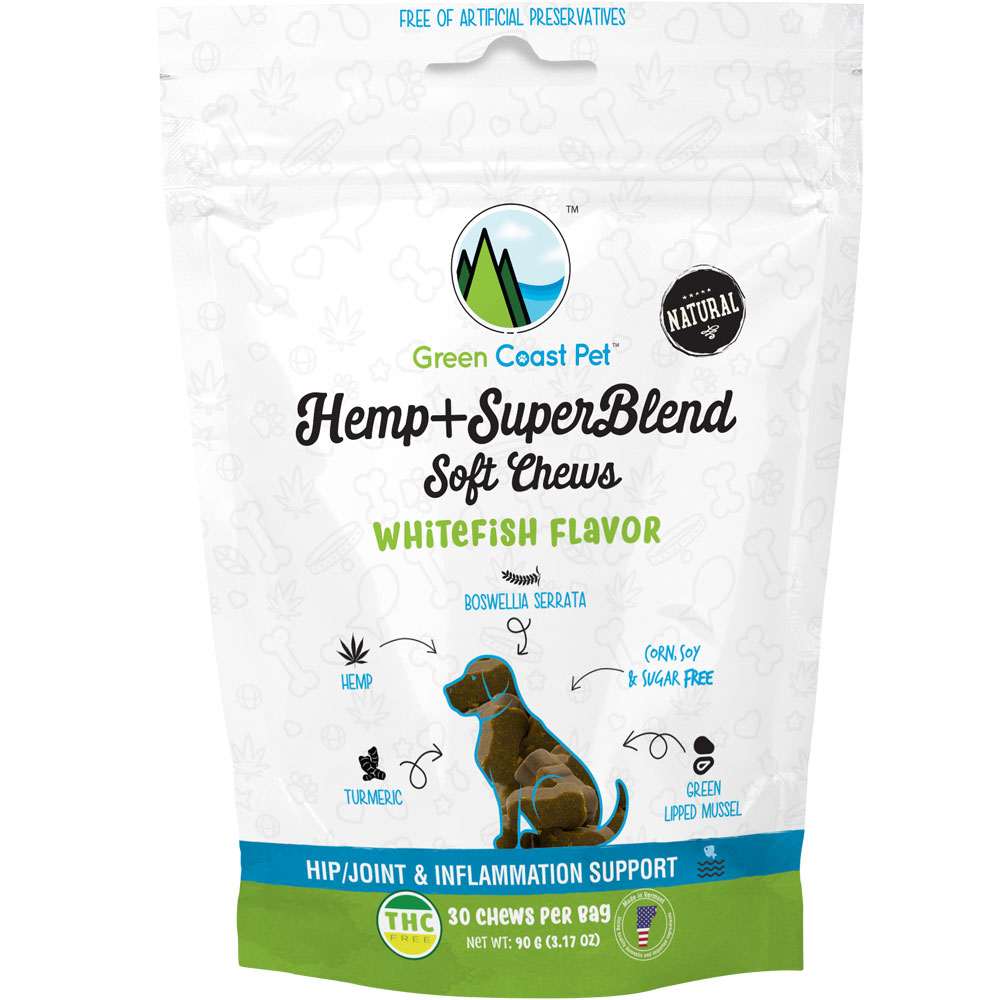 Green Coast Pet Hemp + SuperBlend Hip & Joint for Dogs - Whitefish (30 Chews) im test