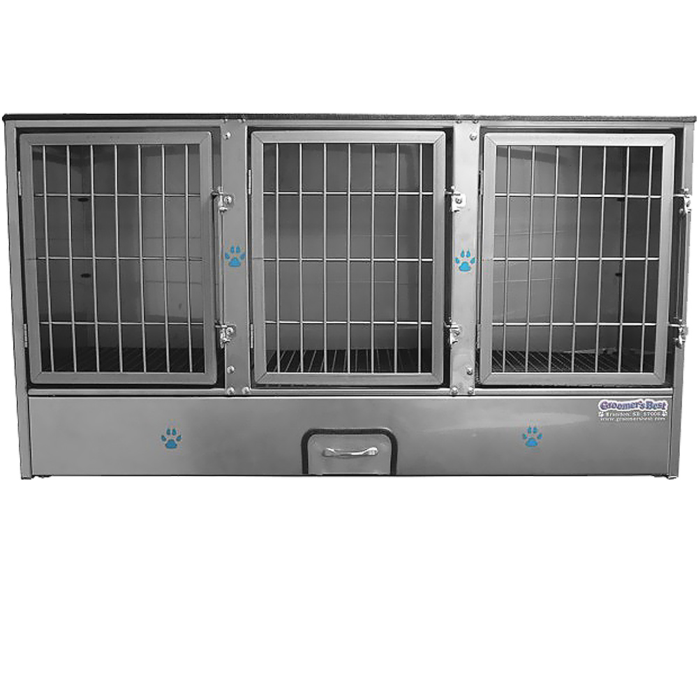 Image of Groomer's Best 3 Unit Cage Bank - 58 in x 31 in x 25 in