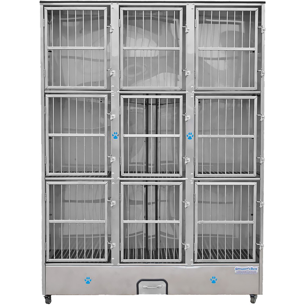 Image of Groomer's Best 9 Unit Cage Bank - 58 in x 25 in x 79 in