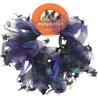 """Halloween Party Collar - Cats & Witch - Large (14"""")"""