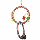 Happy Beaks Toy - Rainbow Double Rope Swing with Wood Blocks