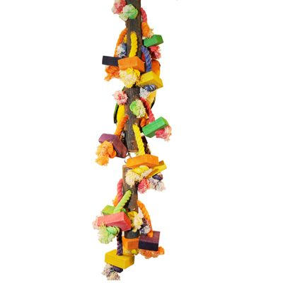 Happy Beaks Toy - Real Wood with Hanging Blocks on Rope (Large)
