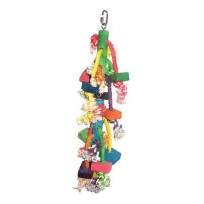 Happy Beaks Toy - Real Wood with Hanging Blocks on Rope (Small)