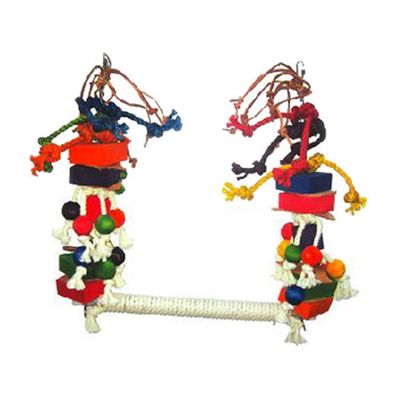 Happy Beaks Toy - Rope Swing with Blocks & Leather (Medium)