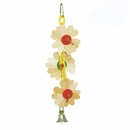 Happy Beaks Toy - Wooden Flower on Chain with Bell