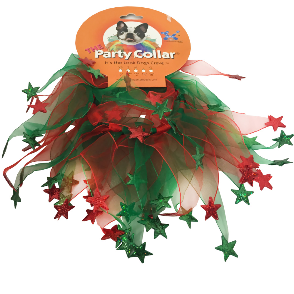 """""""Holiday Party Collar - Xmas Red & Green Stars - XSmall (8"""""""")"""" im test"""