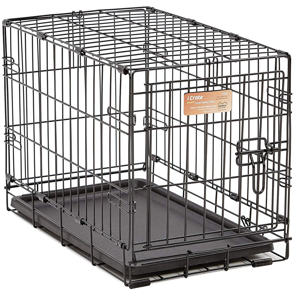 """Image of """"iCrate Folding Dog Crate - Black (22""""""""x13""""""""x16"""""""")"""""""